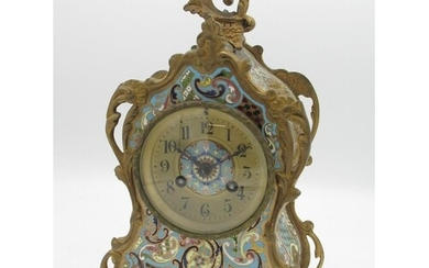 C20th French champlevé enamel and gilt metal rococo design c...