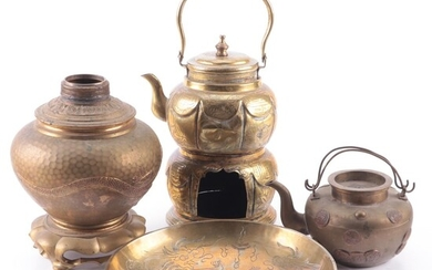 Chinese Brass Kettles, Lamp Base and Other Tableware