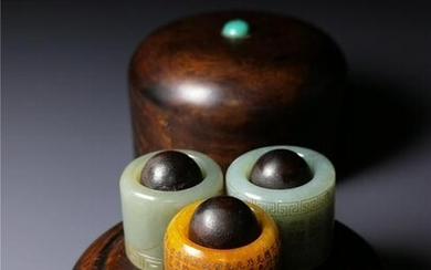 Chinese Qing Style Jade Archer Ring and Box