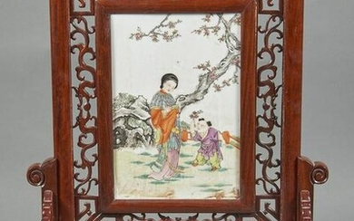Chinese famille rose porcelain plaque table screen