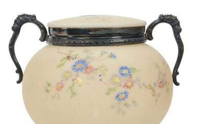 Covered Jar, Opal Ware Attributed To Mt. Washington