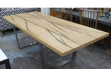 DINING TABLE, contemporary design, with veined inlaid detail...