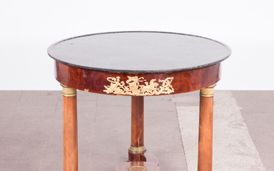Empire style end table / table, mahogany, bronze, gilded, marble, Napoleon III period, mid 19th century.