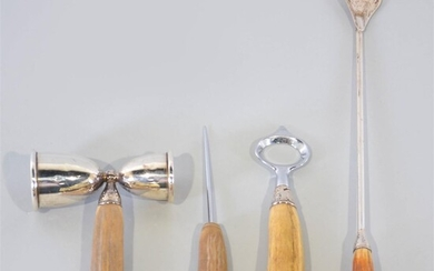 FOUR-PIECE STERLING SILVER AND HORN BAR TOOL SET
