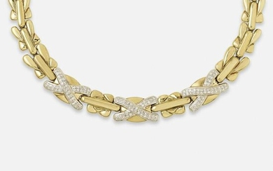 Italian, Diamond and gold 'X' link necklace