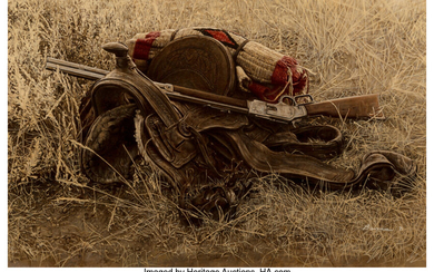 James Elliott Bama (b. 1926), 1880's Still Life of Saddle and Rifle, Old Trail Town, Cody, Wyoming (1971)