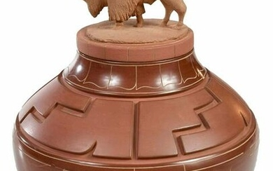 Jeff Roller Carved Redware Pot with Buffalo Lid