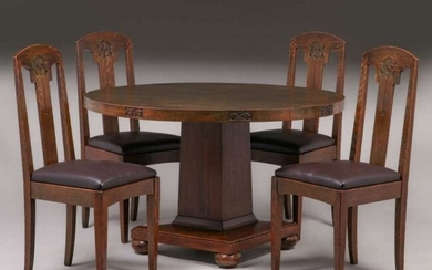 John Bradstreet Hand-Carved Dining Table & Chairs c1905
