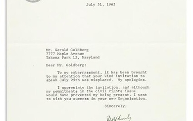 KENNEDY, ROBERT F. Typed Letter Signed, as Attorney