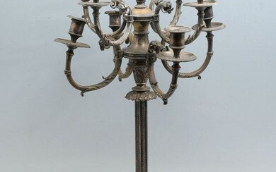 LARGE SILVER PLATE FIGURAL CANDLEABRA