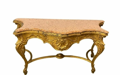 Louis Xv Style Gold Leaf Marble Top Console