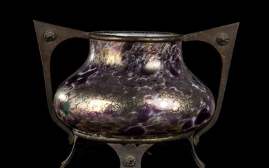 MULLER Vase Glass and bronze, 18 x 27 x 16...