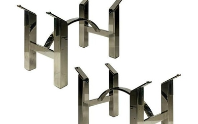 Mid Century Modern Pair Chrome Console Table Bases