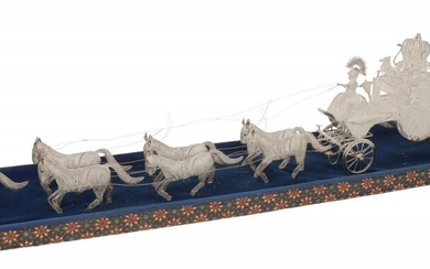 Miniature filigree carriage with horses silver.