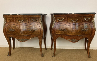 PAIR LOUIS XV STYLE INLAID BURLWOOD SERPENTINE BOMBE COMMODES WITH...