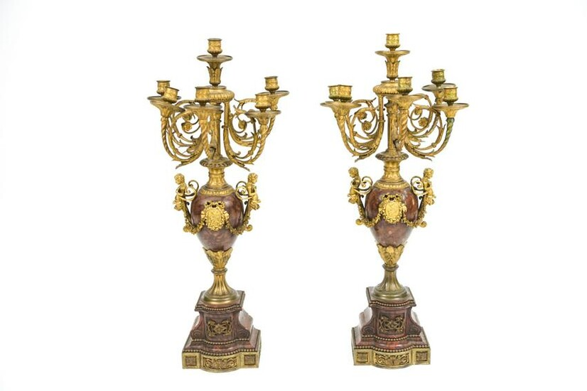 PAIR OF 19TH C. ROUGE MARBLE FRENCH CANDELABRA