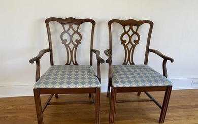 Pair Chippendale Style Upholstered Armchairs