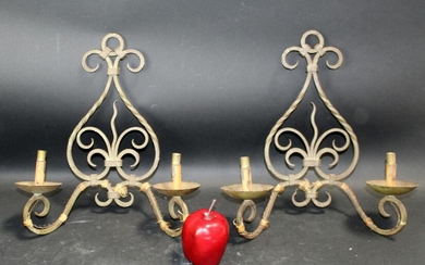 Pair French scrolled verdigris iron wall sconces