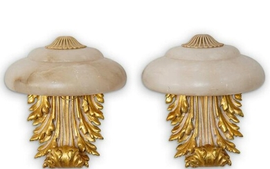 Pair of Alabaster Gilt Carved Wall Sconces