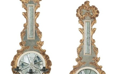 Pair of Carved and Parcel-Gilt Mirrored Sconces