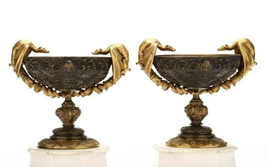 Pair of French Bronze Pedestal Bowls With Gilt Accents
