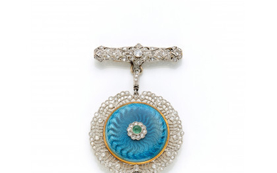 Platinum and yellow gold pendant watch with brooch finished with rose cut and old mine diamonds, two cabochon emeralds and…Read more
