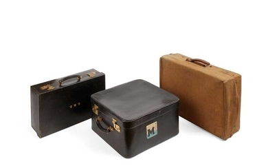 THREE BRANDED LEATHER TRAVEL CASES EARLY 20TH CENTURY