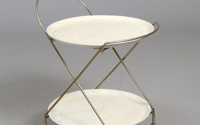 TRAY TABLE, brass, wood, mid-20th century.