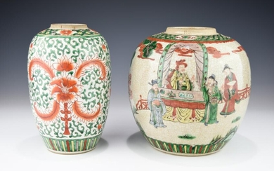 TWO 19TH CENTURY FAMILLE VERTE AND IRON-RED JARS