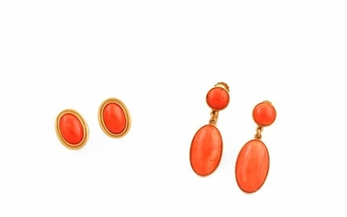 TWO PAIR OF CORAL AND GOLD EARRINGS