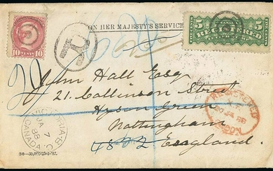 The Americas Canada Registered Letter Stamps 1888 (7 Jan.) On Her Majesty's Service envelope to...