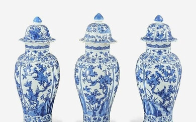 Three Chinese blue and white porcelain baluster vases