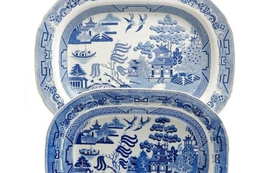 Two 19th Century blue and white meat plates decorated in the...