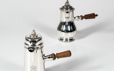 Two French Sterling Silver Chocolate Pots
