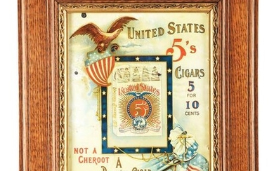 VERY EARLY EMBOSSED TIN UNITED STATES CIGAR SIGN.