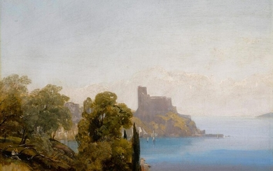 View of Lerici with Baron Charles Rivet sketching in the foreground, Richard Parkes Bonington