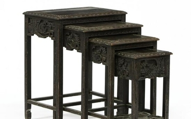 Vintage Set of Four Chinese Carved Nesting Tables