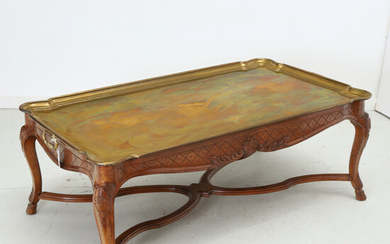 Yale Burge style brass tray coffee table