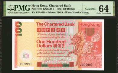 (t) HONG KONG. Lot of (9). Chartered Bank. 100 Dollars, 1979-82. P-79a, 79b & 79c. Solid Serial Numbers. PMG Choice About Uncirculated 5...