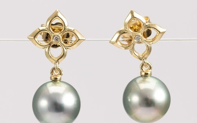 10x11mm Round Golden Green Tahitian Pearls - 14 kt.