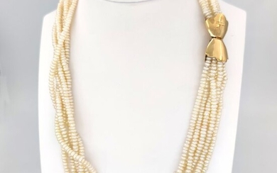 18 kt. Yellow gold - Necklace - Fresh water pearls 3.90 mm
