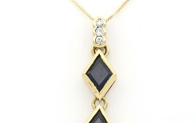 18 kt. Yellow gold - Necklace with pendant - 0.80 ct Sapphires - Diamonds
