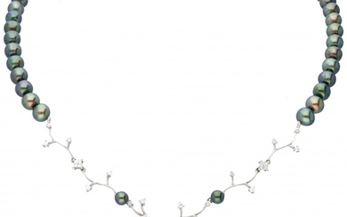 18K. White gold Mikura Pearls necklace set with approx. 0.59 ct. diamond and Tahiti pearl....