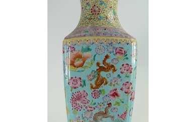 19th century Famille Rose Decorated vase: Height 40cm with i...