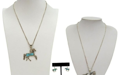 (3) STERLING SILVER HORSE NECKLACES & EARRINGS