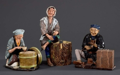 "3 Various colourful glazed stoneware figures: ""Old woman at rice..."