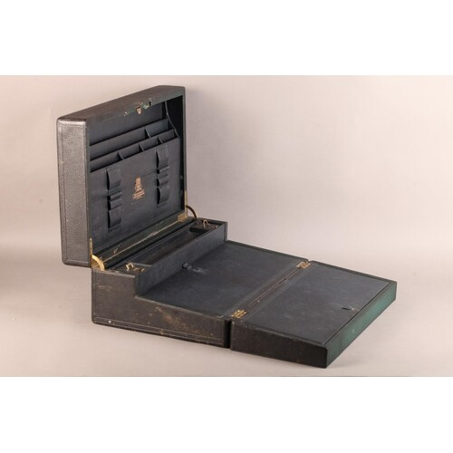 A 19TH CENTURY BLACK LEATHER DISPATCH AND WRITING CASE by To...