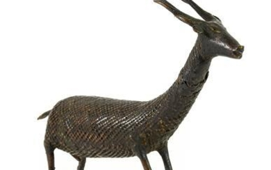 A Bronzed Figure of an Antelope, possibly Indian, 19th century,...