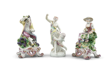 A COLLECTION OF POLYCHROME PORCELAIN FIGURES, comprising a...