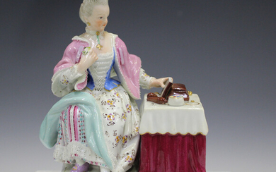 A Meissen figure representing Sight from the Senses, late 19th century, modelled after Schönhei